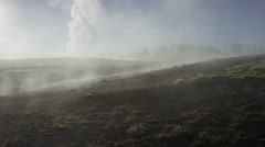 Wide panning shot of steam rising from distant Old Faithful geyser / Yellowstone - stock footage