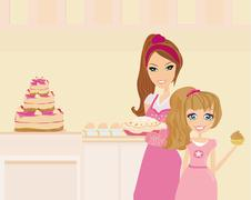 Happy mother helping her daughter cooking cake in the kitchen - stock illustration