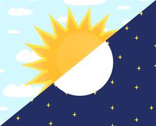 Day and night. sun and moon concept. Stock Illustration