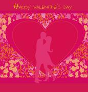 Floral greeting card with silhouette of romantic couple Stock Illustration