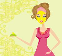 Cute woman applying moisturizer .vector illustration - stock illustration