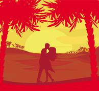 Silhouette couple kissing on tropical beach Stock Illustration