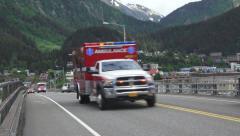 EMS Ambulance Passby Juneau Alaska Handheld 4K Stock Footage
