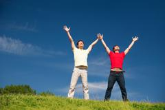 Young people express positivity - stock photo