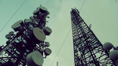 Stock Video Footage of Communication cell towers, antennas site, mountain