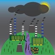 Stock Illustration of Landscape with environmental contamination. Ecology problem concept.