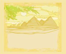 Stock Illustration of old paper with pyramids giza landscape card