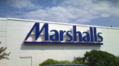 Stock Video Footage of Marshalls retailer clothing store sign, loop