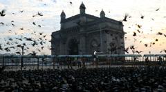 Mumbai Gateway India Maharashtra monument sunrise Stock Footage