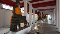 Buddha statues at the temple in Thailand Stock Footage