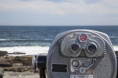 Binocular Vending Machine Looking at Ocean - stock photo