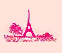 vintage retro Eiffel tower card - stock illustration