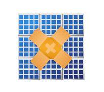 Solar panel band aid fix solution concept Stock Illustration