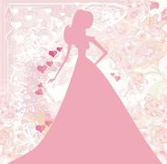 Abstract Beautiful floral bride silhouette card - stock illustration
