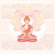 Chinese Traditional Artistic Buddhism Pattern - stock illustration