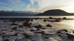 Frozen Alaska Icy Winter Beach and Water Aerial - stock footage
