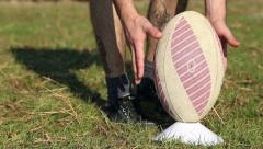 Rugby ball kick Stock Footage