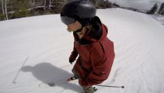 POV Extreme Skier Doing 360 Stock Footage