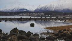 Haines AK Misty Winter Day Tilt Up Scenic Low Tide Mountains 4K - stock footage