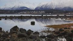 Haines AK Misty Winter Day Tilt Up Scenic Low Tide Mountains HD Stock Footage