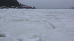 Heaving Ice on Winter Storm Waves Letnikof Cove Cannery LS Low Angle Stock Footage