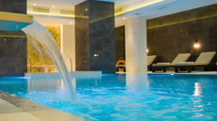 View inside the room with a swimming pool Stock Footage
