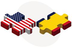 USA and Chad Flags in puzzle - stock illustration