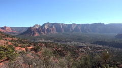 Sedona red rock mountain valley city pan 4K Stock Footage