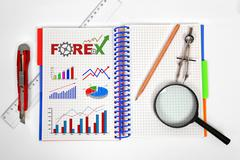 Notepad with forex chart Stock Photos