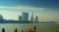 Stock Video Footage of The Erasmus Bridge links diferent regions of Rotterdam.