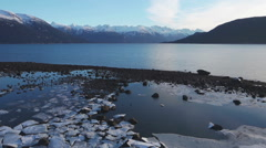 Stock Video Footage of Icy Shards Picture Point Rocks Low Tide Haines Alaska Scenic Aerial