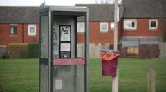 Vandalised phone box Stock Footage