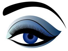 Eye with fluffy eyelid in blue hues - stock illustration
