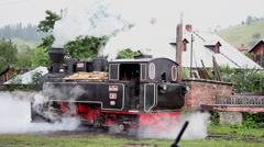 Steam engine rolling on the track, vintage, railroad, traveling, transportation - stock footage
