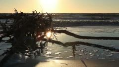 Beach after storm,at magic hour Stock Footage