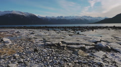 Intertidal Zone Frozen Rocky Beach Low Tide Aerial Haines Alaska Stock Footage