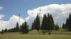 Communication antenna, equipment, telecommunication, TV, tower, mountain - stock footage