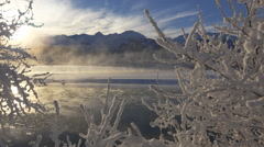 Magical Winter Scenic Chilkat River Alaska in Snow and Steaming HD - stock footage