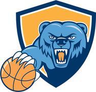 Grizzly Bear Angry Head Basketball Shield Cartoon - stock illustration