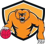 Stock Illustration of Grizzly Bear Angry Dribbling Basketball Shield Cartoon