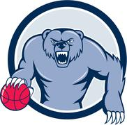 Stock Illustration of Grizzly Bear Angry Dribbling Basketball Cartoon