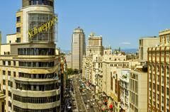 aerial view of Gran Via street in Madrid, Spain - stock photo