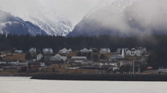 Misty Fort Seward Haines Alaska Rolling Fog Winter tele 4K Stock Footage