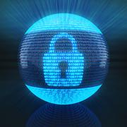 Lock symbol on globe formed by binary code - stock illustration