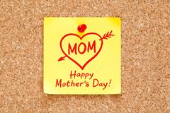 Happy Mothers Day Concept Sticky Note Stock Photos