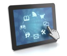 Clicking on a tablet with touchscreen interface, 3d render Stock Illustration