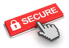 Clicking a secure button Stock Illustration