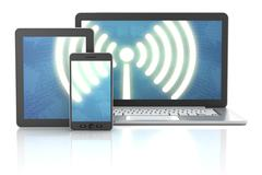 Smartphone, tablet and laptop wireless connection, 3d render Stock Illustration