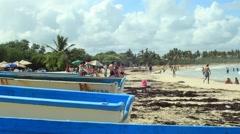Fishing Boats on Macao Beach Stock Footage