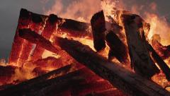 Raging Fire Inferno Tumbledown Posts and Beams Slow Motion close Stock Footage
